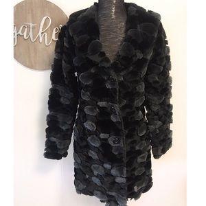 Vintage Hourglass faux fur mesh long jacket